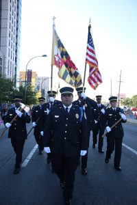 Wheaton Volunteer Rescue Squad Honor Guard marching in parade